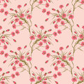 Seamless floral pattern background,red flowers on a beige background. Royalty Free Stock Photo
