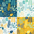 Seamless floral pattern background. Set of colorful variations. Royalty Free Stock Photo