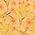Seamless floral pattern background, yellow flowers on a beige background. Royalty Free Stock Photo