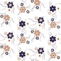 Seamless floral pattern beige and dark blue colors Royalty Free Stock Photo