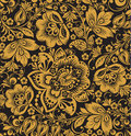Seamless floral pattern beige flowers on a gold background black hohloma Stock Images