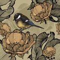 Seamless floral pattern with bird titmouse. Vector illustration.