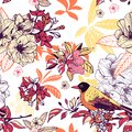 Seamless floral pattern with bird vector illustration Royalty Free Stock Photography