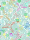 Seamless floral pattern with birds Royalty Free Stock Image