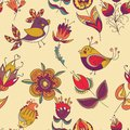 Seamless floral pattern with birds flower and bird endless can be used for wallpaper backdrop surface textures Royalty Free Stock Photo
