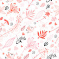 Seamless floral pattern with birds in love Royalty Free Stock Photo