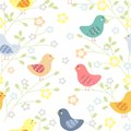 Seamless floral pattern with birds stock illustration Stock Photo