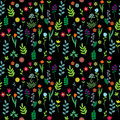 Seamless floral pattern on black Royalty Free Stock Images