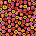 Seamless floral pattern on black background. Different bright flowers.