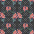 Seamless floral pattern on black dotted background Stock Photos