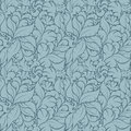 Seamless Floral Pattern On Blu...