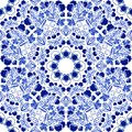 Seamless floral pattern. Blue ornament of berries and flowers in the style of Chinese painting on porcelain. Royalty Free Stock Photo