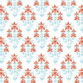 Seamless floral pattern. Blue and red damask flower background. Tile wrapping paper texture. Hand drawn vector Royalty Free Stock Photo