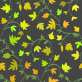 Seamless floral pattern with branches and leaves in summer style, abstract texture, endless background. Vector