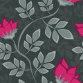 Seamless floral pattern with bright flowers on grey background Stock Image