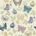 Seamless floral pattern with butterflies and flowe Stock Photography