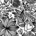 Seamless Floral Pattern Bw