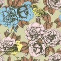 Seamless floral pattern with colorful hand-drawn flowers and birds.