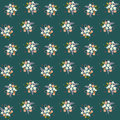 Seamless floral pattern composition small field flowers twigs berries leaves on green blueish background, fabric, tapestry, wallpa