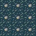 Seamless floral pattern composition small field flowers twigs berries leaves on navy background, fabric, tapestry, wallpaper