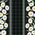 Seamless floral pattern ,cute flowers on black background, striped, Royalty Free Stock Photo