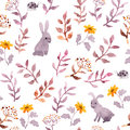 Seamless floral pattern - cute flowers, leaves and watercolour hares