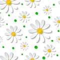 Seamless  floral pattern with 3d chamomiles with green dots Royalty Free Stock Photo