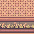 Seamless floral pattern with decorative border vector illustration Royalty Free Stock Image