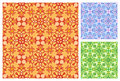 Seamless floral pattern in different color schemes Stock Photo