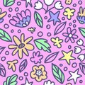 Seamless floral pattern with doodle flowers and leaves in pastel colors. Vector illustration. Trendy flowers for girly print. Hand