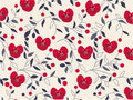 Seamless floral pattern with fabric texture Stock Photos