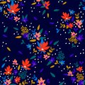 Seamless Floral Pattern. Fashion textile pattern with decorative little flowers and leaves on midnight blue background