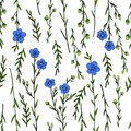 Seamless floral pattern, Flax plant, wild field flower on white background, hand drawn sketch vector doodle