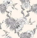 Seamless floral pattern with flowers and birds Royalty Free Stock Image