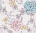 Seamless floral pattern with flowers and birds Stock Photo
