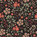 Seamless floral pattern with flowers on dark background. Vintage floral background. Vector illustration. Royalty Free Stock Photo