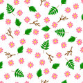 Seamless floral pattern flowers leaves branches