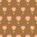 Seamless floral pattern with geometric stylized flowers can be used to fabric design wallpaper decorative paper web design etc Royalty Free Stock Photo