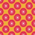 Seamless floral pattern graphic abstract sunflowers, circular elements, red white on orange background, fabric