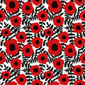 Seamless floral pattern hand drawn abstract red poppy flowers black twigs leaves white background, fabric, wallpaper Royalty Free Stock Photo