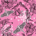 Seamless floral pattern with hand drawn flowers an and dragonflies abstract Stock Photos
