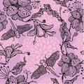 Seamless floral pattern with hand drawn flowers an and dragonflies abstract Stock Image