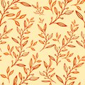 Seamless floral pattern hand drawn leaves