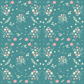 Seamless floral pattern hand drawn small white silhouette flowers in bouquet twigs berries on blueish green background, fabric, sc