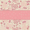 Seamless floral pattern with hearts in vector Stock Photography