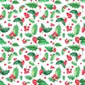 Seamless floral pattern with holly christmas