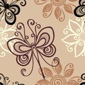 Seamless floral pattern with insects vector ornate Royalty Free Stock Image