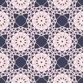 Seamless floral pattern. Light pink flowers on dark blue background. Vector