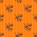 Seamless floral pattern with lily on orange background Royalty Free Stock Images