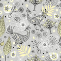 Seamless floral pattern with magic birds Royalty Free Stock Photography